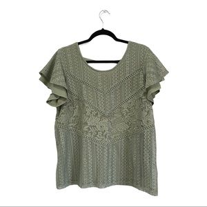Absolutely Famous olive lace overlay too large